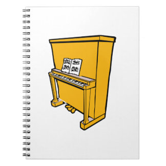grand orange upright piano with music.png spiral notebook