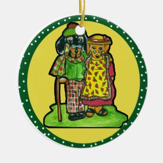 Grand Parent Doxies Ceramic Ornament