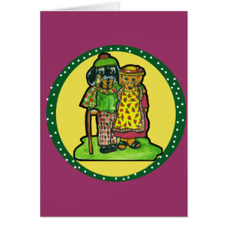 Grand Parent Doxies Greeting Card