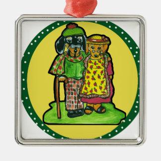 Grand Parent Doxies Metal Ornament