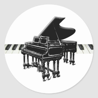 Grand Piano and Keyboard Classic Round Sticker