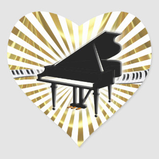 Grand piano and Keyboard Heart Sticker