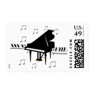 Grand Piano and Keys Postage Stamp