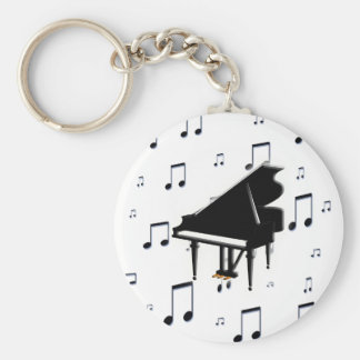 Grand Piano and Music Notes Keychain