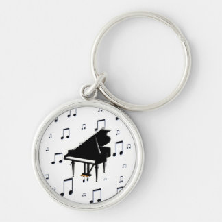 Grand Piano and Music Notes Key Chains