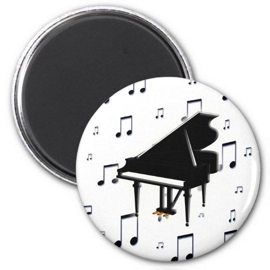 Grand Piano and Music Notes Magnet