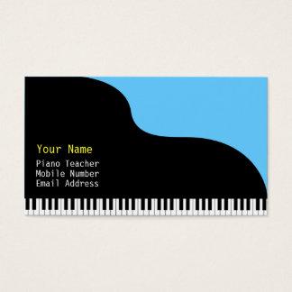 Grand Piano Blue Background Business Card