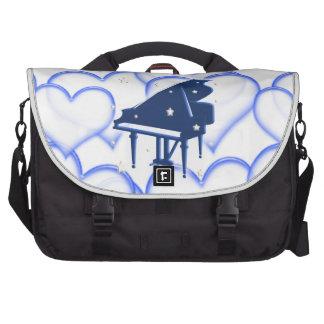 Grand Piano Blue Hearts Laptop Bag