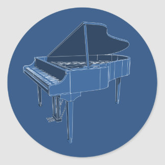 Grand Piano: Blueprint Painting: Classic Round Sticker