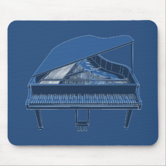 Grand Piano: Blueprint Painting: Custom Mousepad