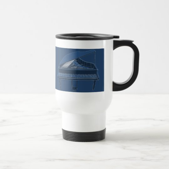 Grand Piano: Blueprint Painting: Travel Mug
