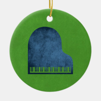 Grand Piano Blues Ceramic Ornament