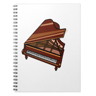 Grand Piano Brown Bird's Eye View Spiral Notebook