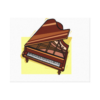 Grand Piano Brown Bird's Eye View Yellow Back Canvas Print