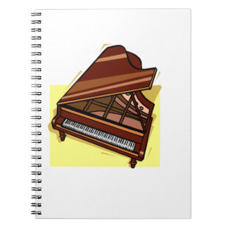 Grand Piano Brown Bird's Eye View Yellow Back Notebook