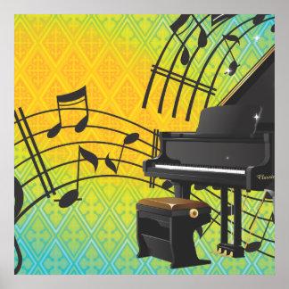 Grand piano cartoon print