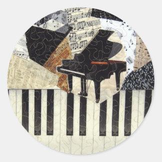 Grand Piano Classic Round Sticker