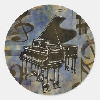 Grand Piano Collage Classic Round Sticker