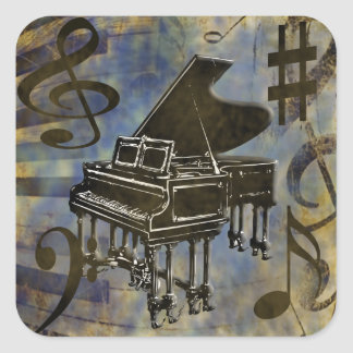 Grand Piano Collage Square Sticker