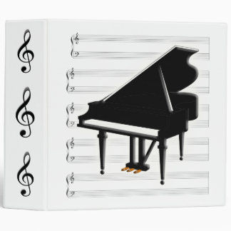 Grand Piano G-Clef and Staff 3 Ring Binder