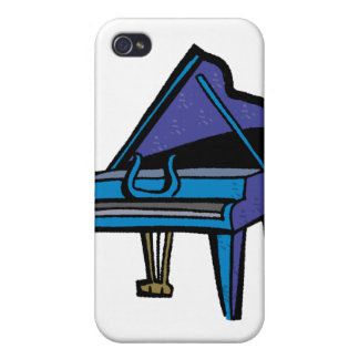Grand Piano Graphic, Blue Image iPhone 4 Cover