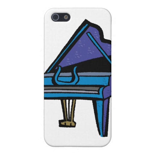 Grand Piano Graphic, Blue Image iPhone 5 Cases