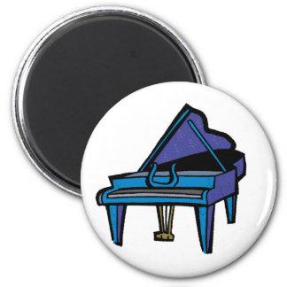 Grand Piano Graphic, Blue Image Fridge Magnet