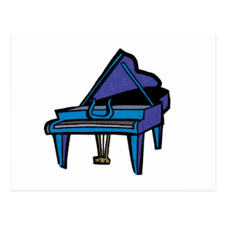Grand Piano Graphic Blue Image Post Cards