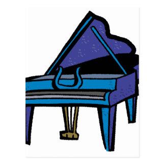 Grand Piano Graphic Blue Image Postcards