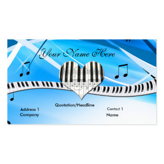 Grand Piano Heart and Keyboard Business Card