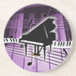 Grand Piano Keyboard and Music Notes Drink Coasters