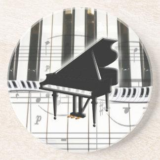 Grand Piano Keyboard and Music Notes Coaster