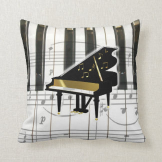 Grand Piano Keyboard and Notes Throw Pillow
