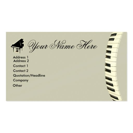 Grand Piano Keyboard Business Cards