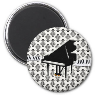 Grand Piano Keyboard Damask 2 Inch Round Magnet