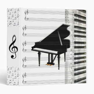 Grand Piano Keyboard Music Notes and Staff Binder