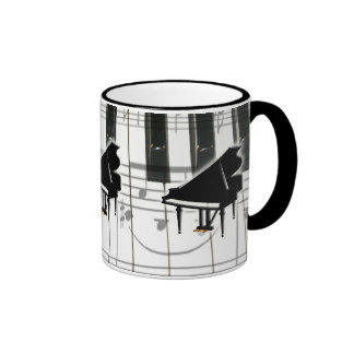Grand Piano Keyboard & Notes Ringer Coffee Mug