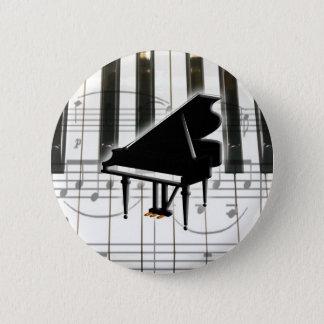 Grand Piano Keyboard & Notes Pinback Button