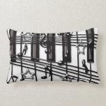 Grand Piano Keyboard with Music Notes Throw Pillow