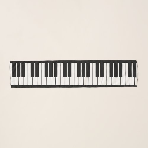 Grand Piano Keys Oblong Chiffon Scarf for Pianist or Music Lover