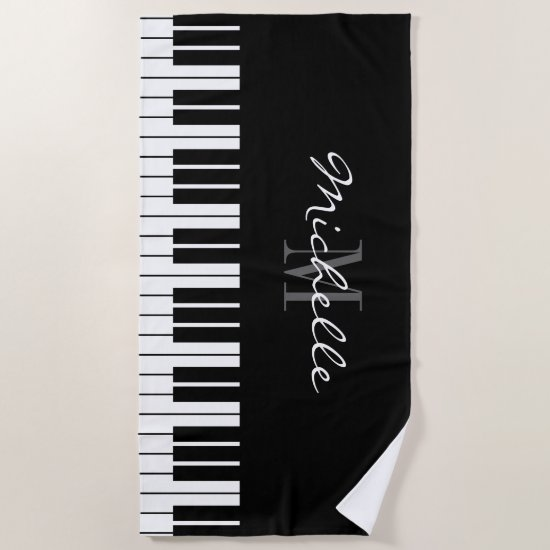 Grand piano keys custom monogram beach towel