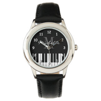 Grand piano keys kids watch with custom monogram
