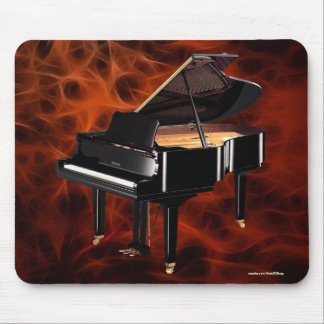 Grand Piano Music-lover's Red Fractal Design Mouse Pad