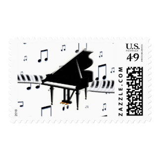 Grand Piano Music Notes and Keyboard Stamps