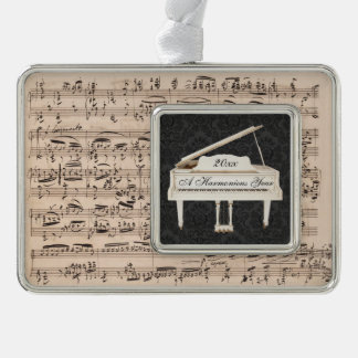 Grand Piano New Year Music Manuscript Customized Christmas Ornament