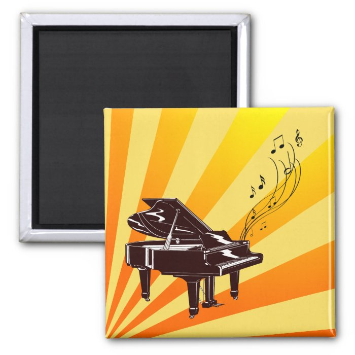 Grand Piano Notes Yellow and Gold 2 Inch Square Magnet