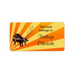 Grand Piano Notes Yellow and Gold Bookplate Labels
