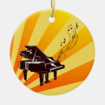 Grand Piano Notes Yellow and Gold Round Ornament