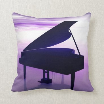 Beach Themed Grand Piano on the Beach Music Throw Pillow