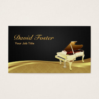 Grand Piano Pianist Elegant Black Gold Damask Business Card